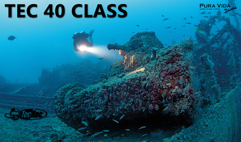 PADI tec 40 technical diving class with pura vida divers